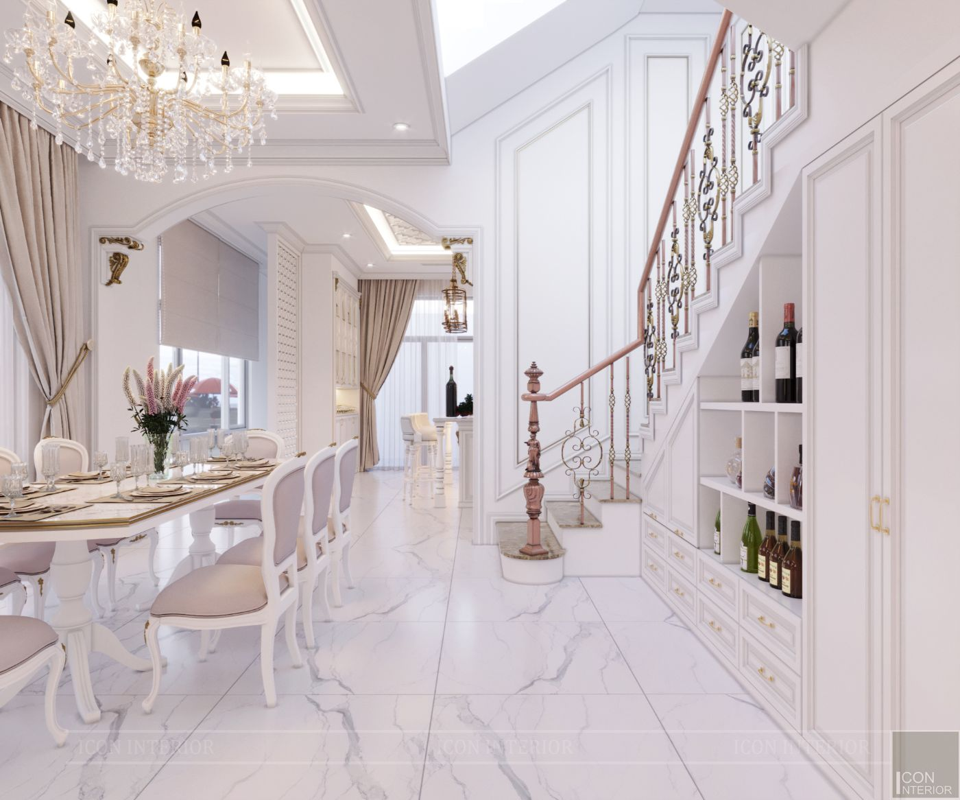 biệt thự tân cổ điển 2 tầng - phòng ăn