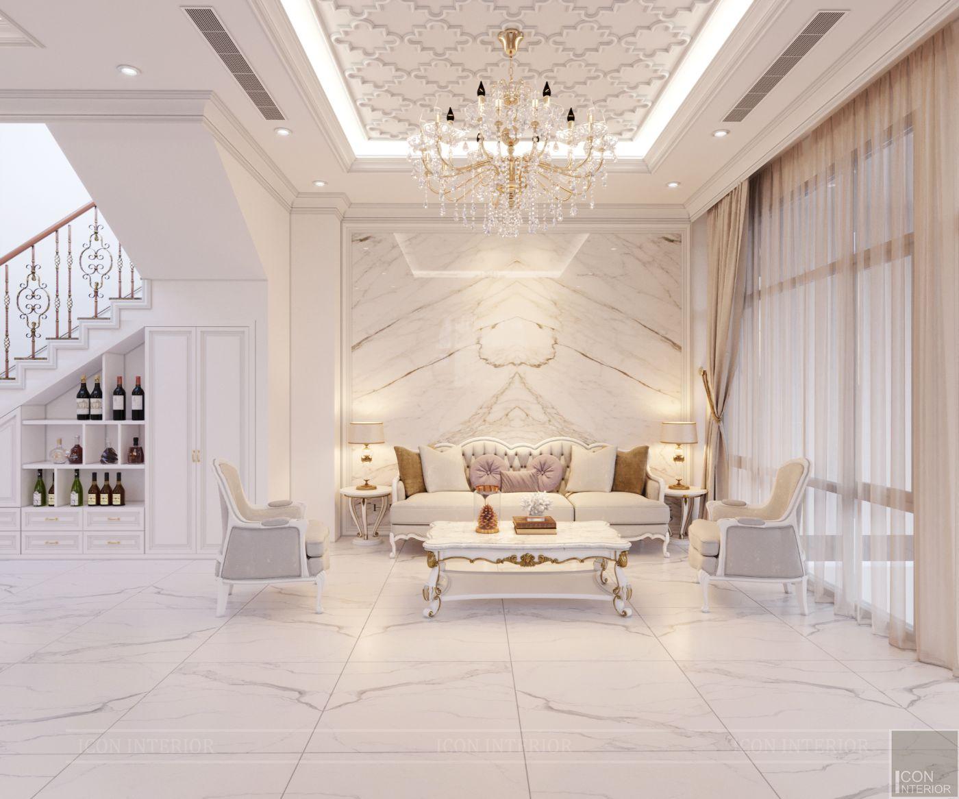 biệt thự tân cổ điển 2 tầng - phòng khách 1