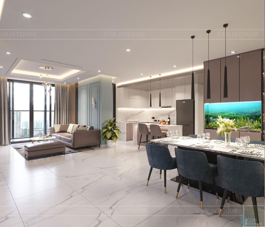 thiết kế căn hộ 4 phòng ngủ landmark 81 - phòng khách bếp