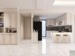 thiết kế nội thất căn hộ midtown - phòng khách bếp 3
