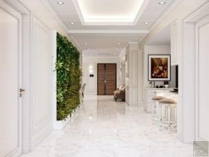 thiết kế nội thất căn hộ midtown - phòng khách bếp 2