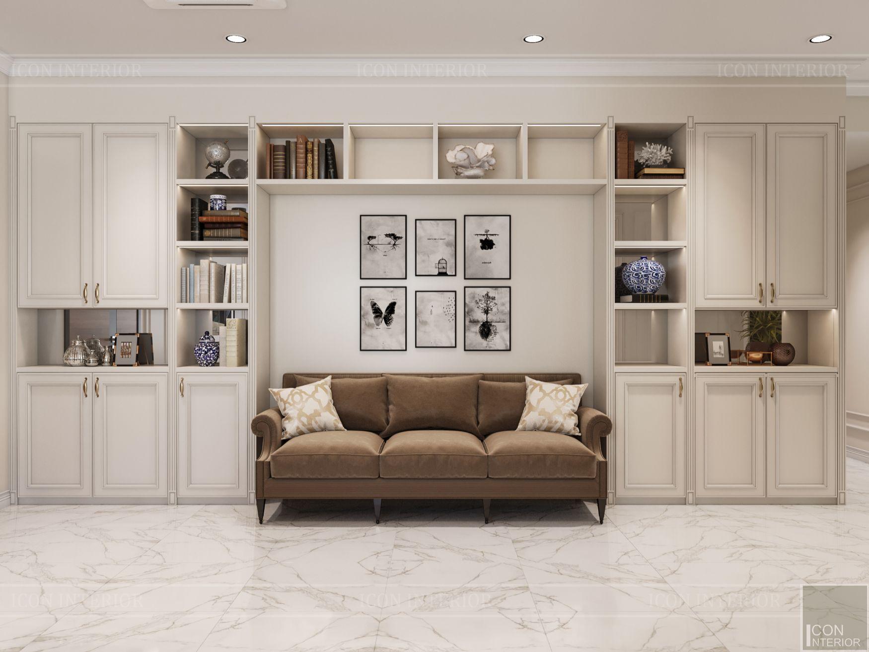 thiết kế nội thất căn hộ midtown - phòng khách bếp 1