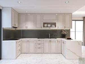 thiết kế nội thất căn hộ midtown - phòng khách bếp 4