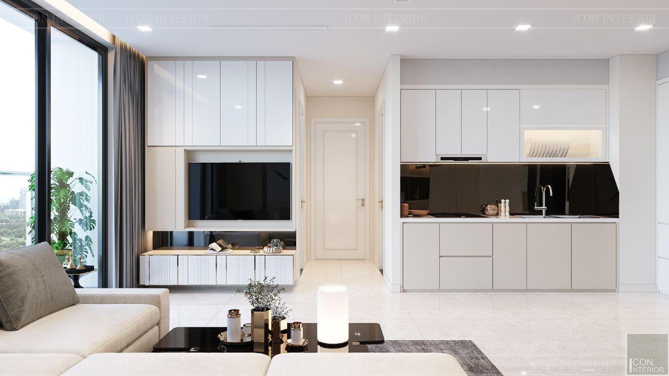thiết kế căn hộ hiên đại - phòng khách bếp 2