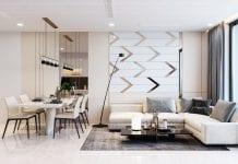 thiết kế căn hộ hiên đại - phòng khách bếp 1