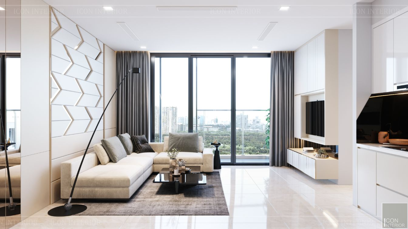 thiết kế căn hộ vinhomes hiện đại - phòng khách