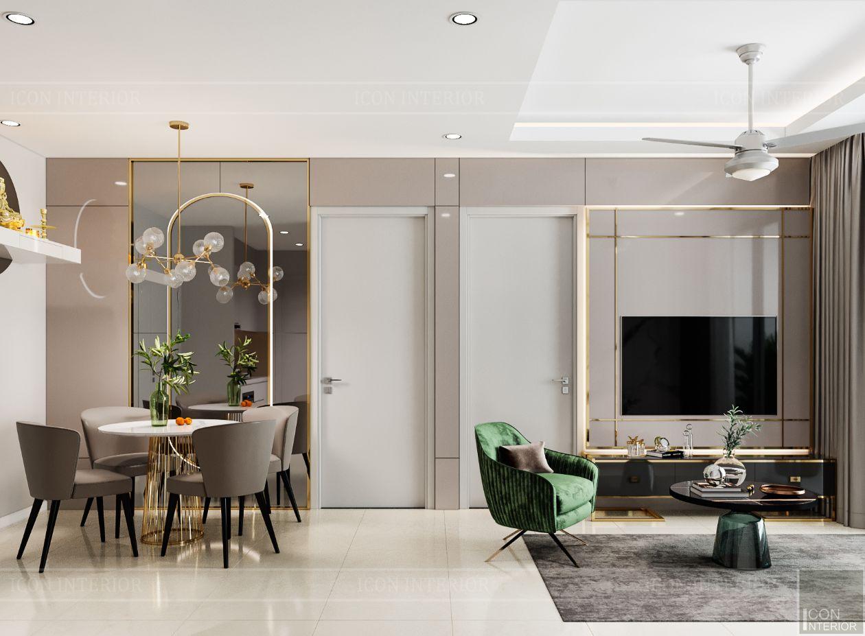 thiết kế nội thất căn hộ saigonmia - phòng khách bếp