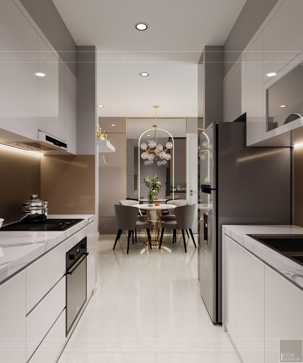 thiết kế nội thất căn hộ saigonmia - phòng bếp