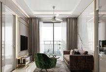 thiết kế nội thất căn hộ saigon mia - phòng khách 2