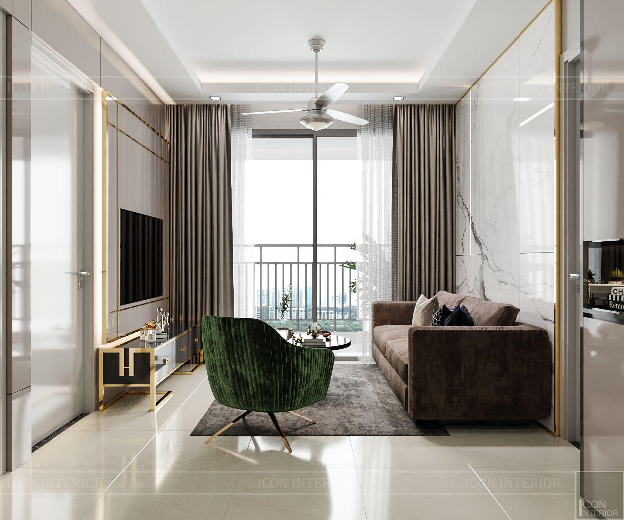 thiết kế nội thất căn hộ saigonmia - phòng khách 2