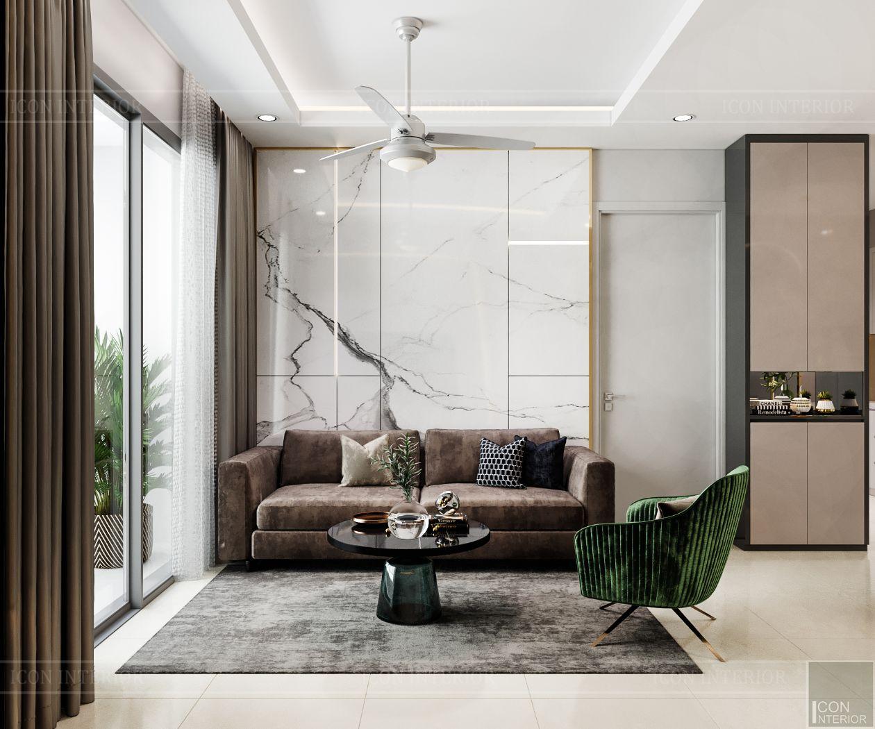 thiết kế nội thất căn hộ saigonmia - phòng khách 1