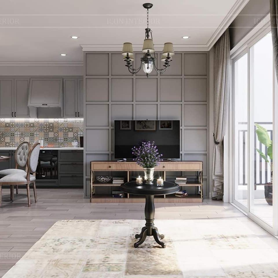 thiết kế nội thất phòng khách phong cách vintage 2