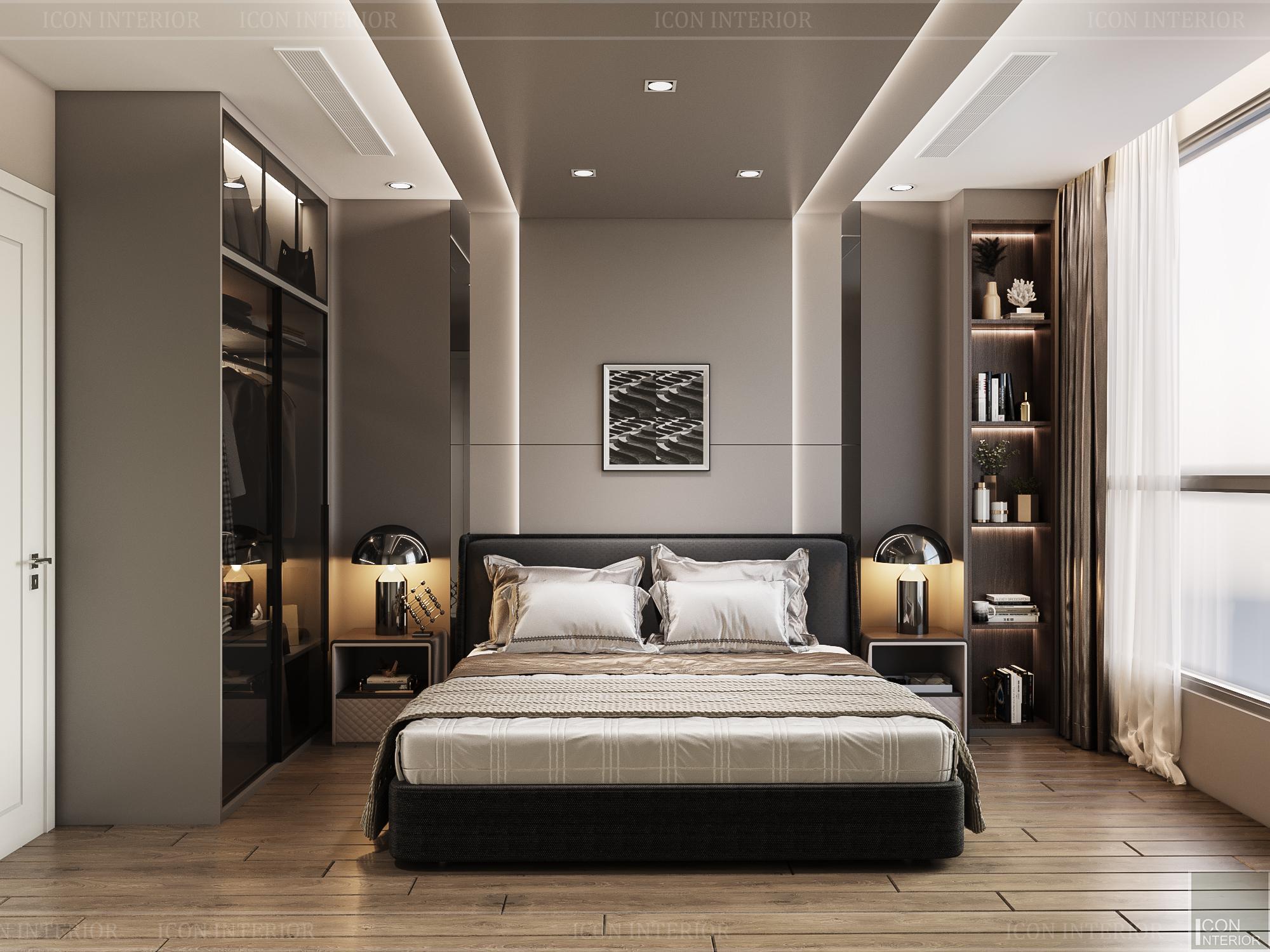 thiết kế căn hộ 3 phòng ngủ hiện đại - phòng ngủ master 2