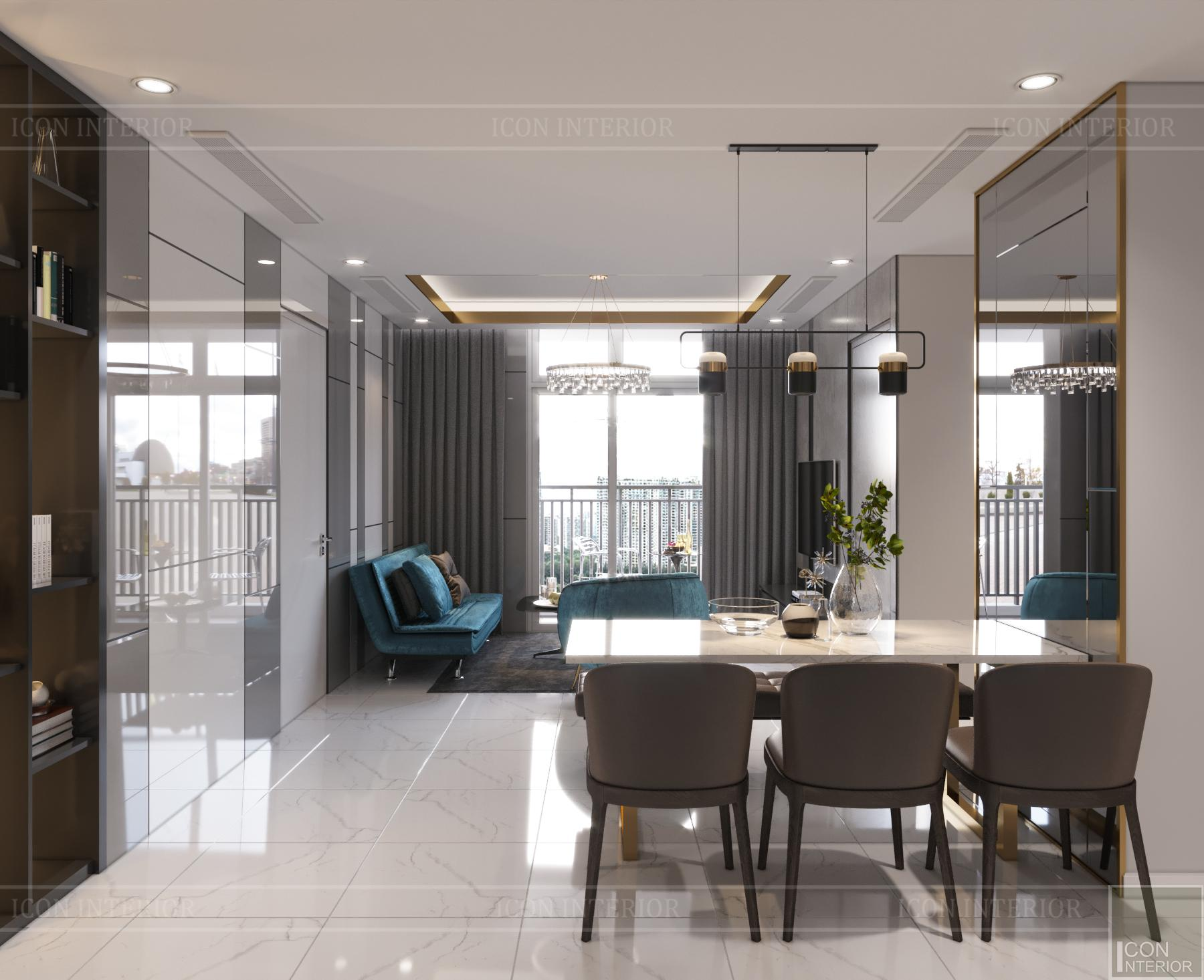 thiết kế căn hộ 3 phòng ngủ hiện đại - phòng khách bếp
