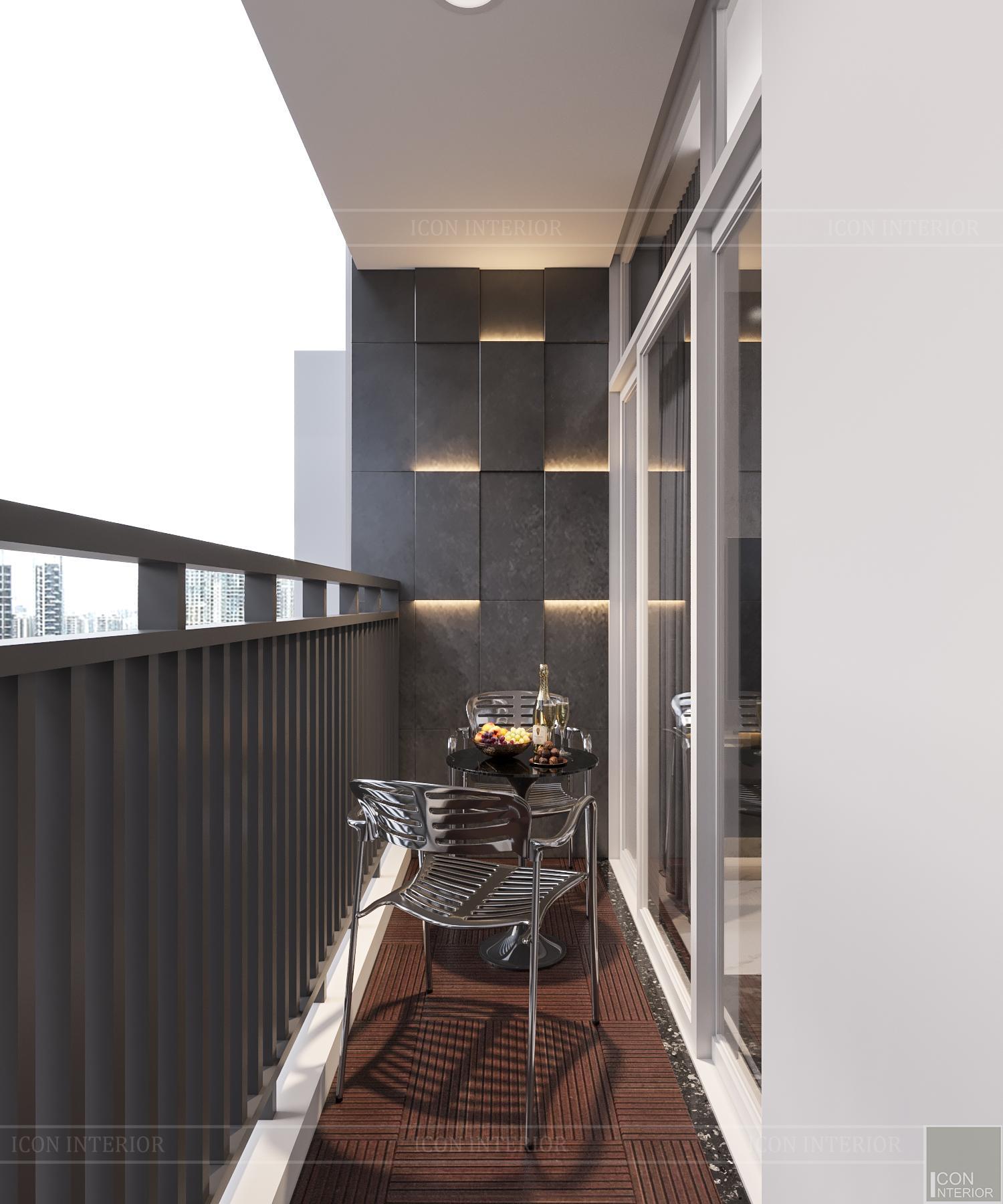 thiết kế căn hộ 3 phòng ngủ hiện đại - ban công