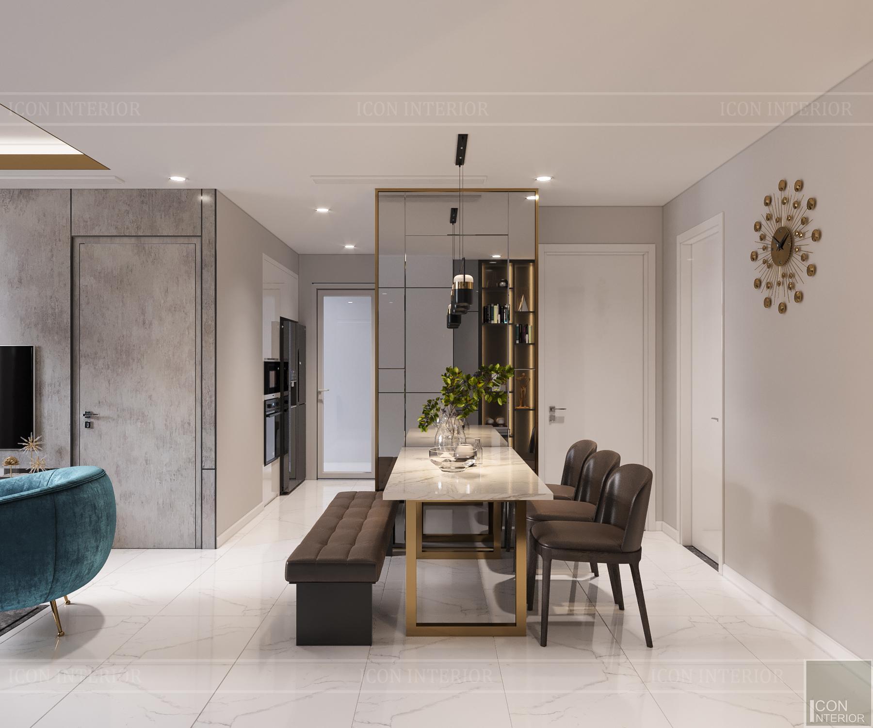 thiết kế căn hộ 3 phòng ngủ hiện đại - phòng ăn