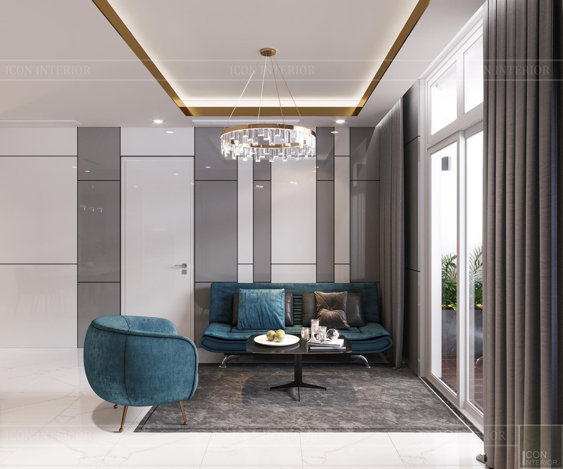 thiết kế căn hộ 3 phòng ngủ hiện đại - phòng khách 2