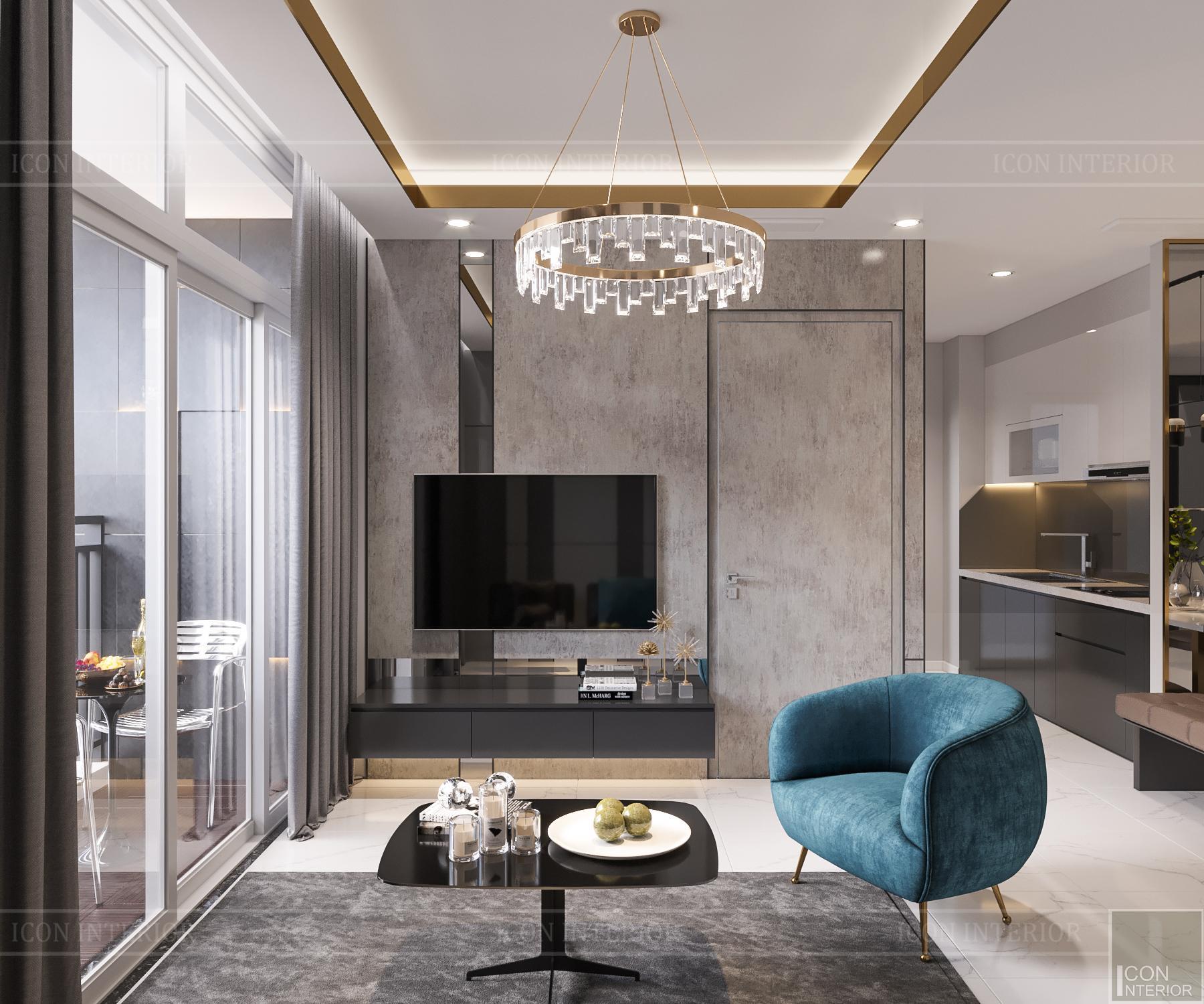 thiết kế căn hộ 3 phòng ngủ hiện đại - phòng khách 1