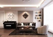 thiết kế căn hộ thảo điền pearl - phòng khách bếp