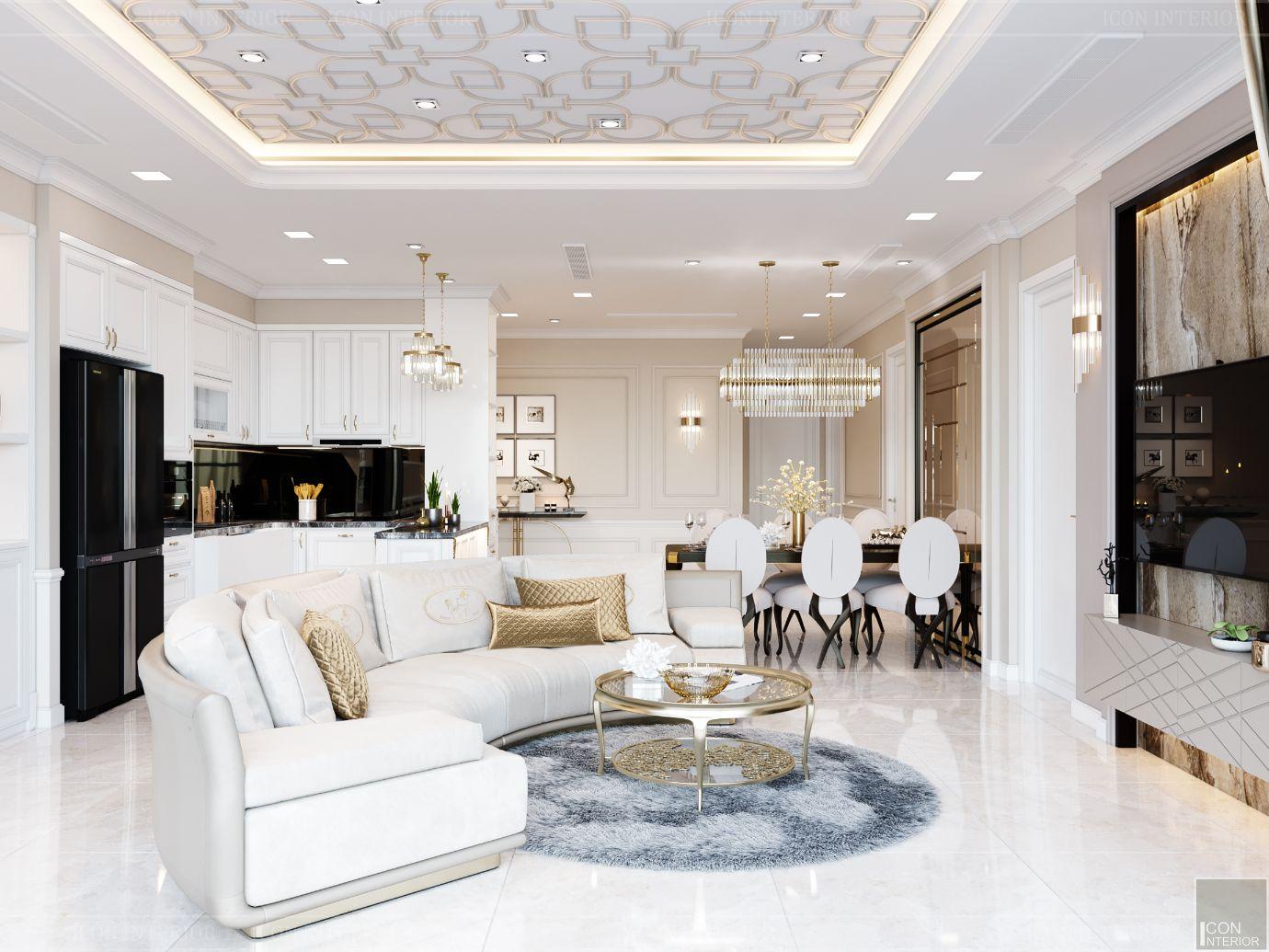 thiết kế chung cư 3 phòng ngủ - phòng khách 1