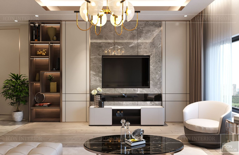 thiết kế nhà phố hiện đại - phòng khách 2