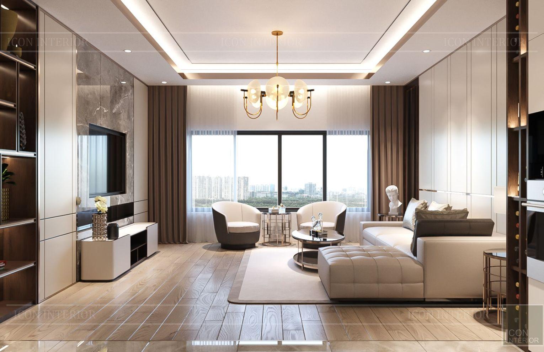 thiết kế nhà phố hiện đại - phòng khách 1