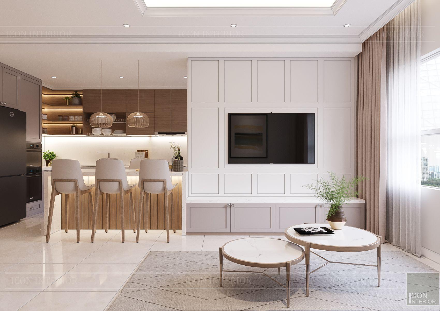 thiết kế căn hộ sunrise city - phòng khách bếp