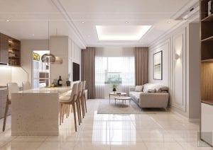 thiết kế căn hộ sunrise city - phòng khách