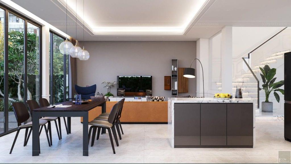 thiết kế nội thất nhà phố hiện đại 2 tầng - phòng bếp