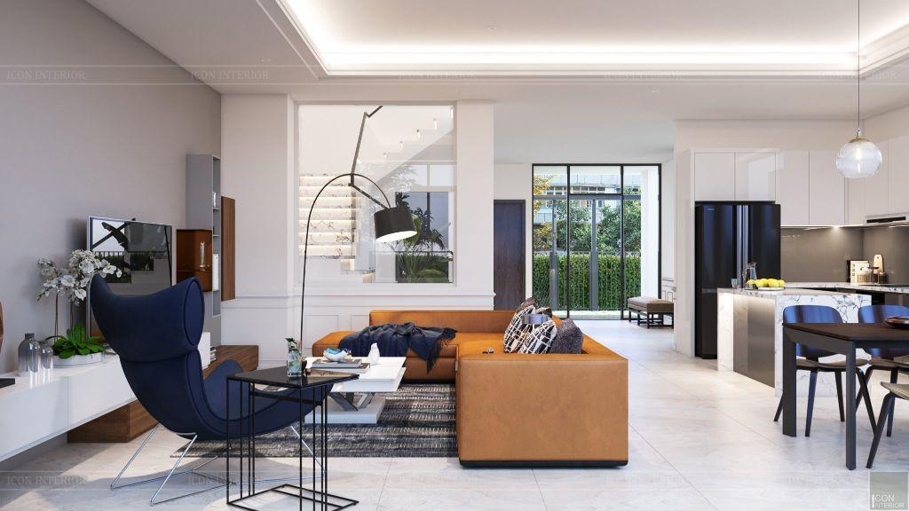 thiết kế nội thất nhà phố 2 tầng - phòng khách bếp