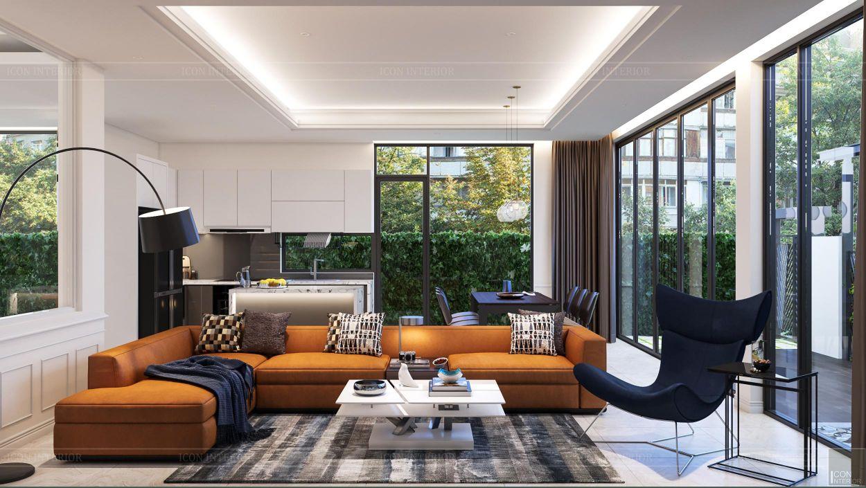 thiết kế nội thất nhà phố 2 tầng - phòng khách