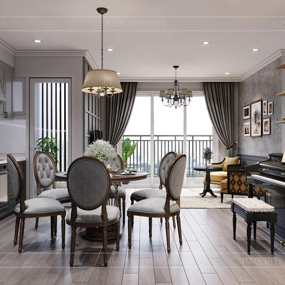 thiết kế nội thất căn hộ palm heights - phòng ăn 2