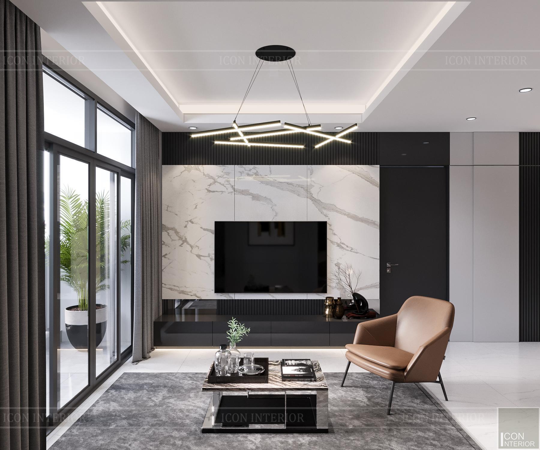 thiết kế nội thất căn hộ flemington - phòng khách 1