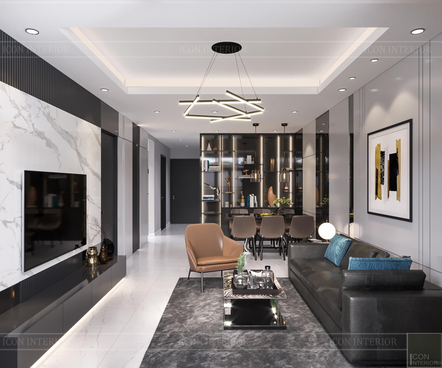 thiết kế nội thất căn hộ flemington - phòng khách 2