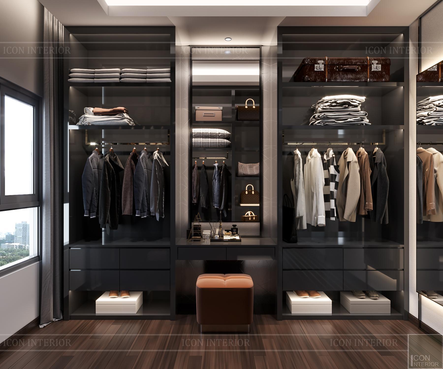 thiết kế nội thất căn hộ flemington - phòng thay đồ 2