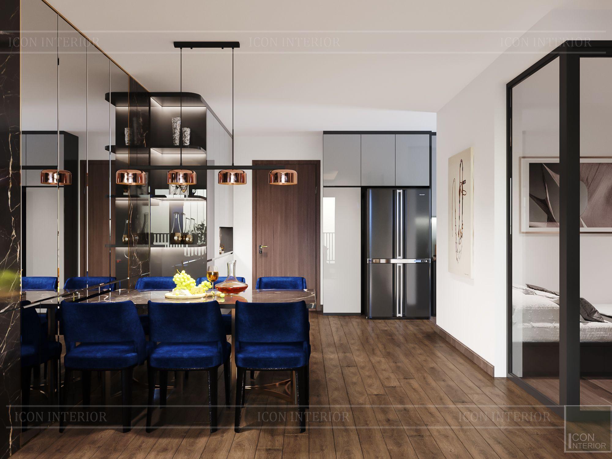 thiết kế nội thất chung cư hado centrosa - phòng bếp