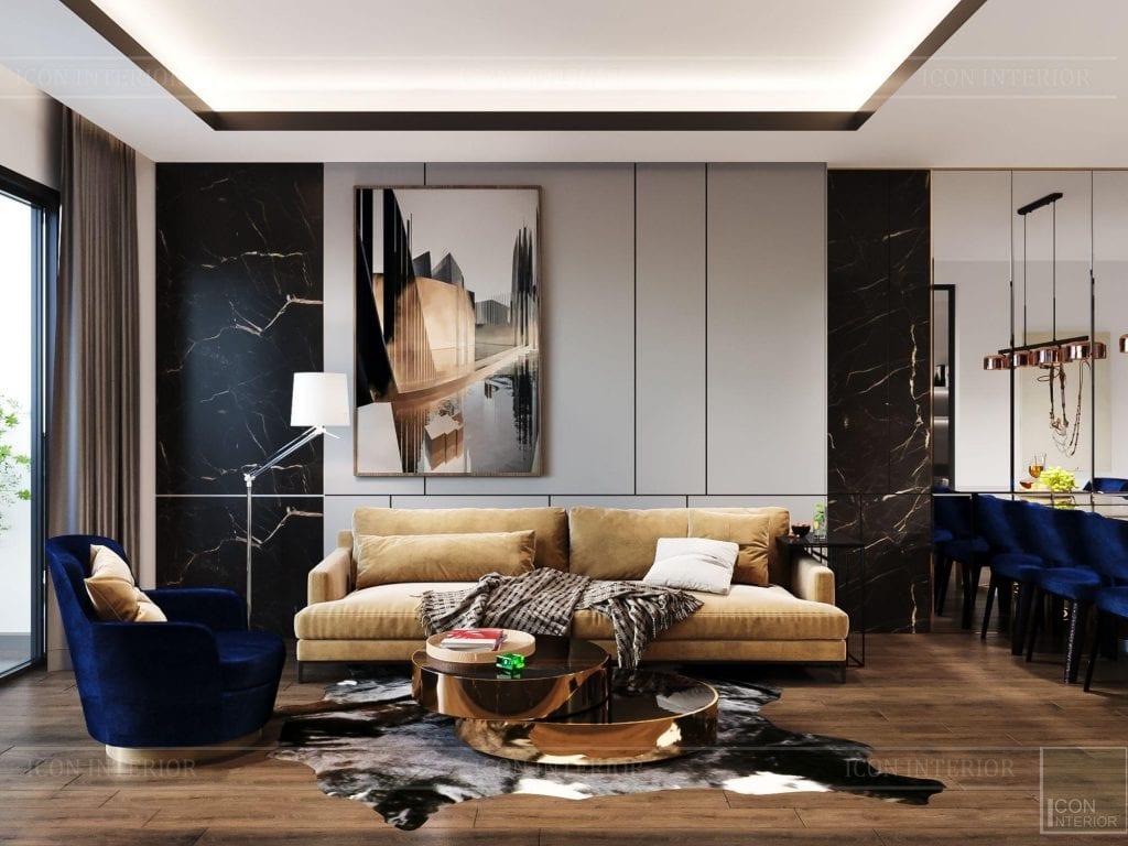 thiết kế nội thất chung cư hado centrosa - phòng khách 2