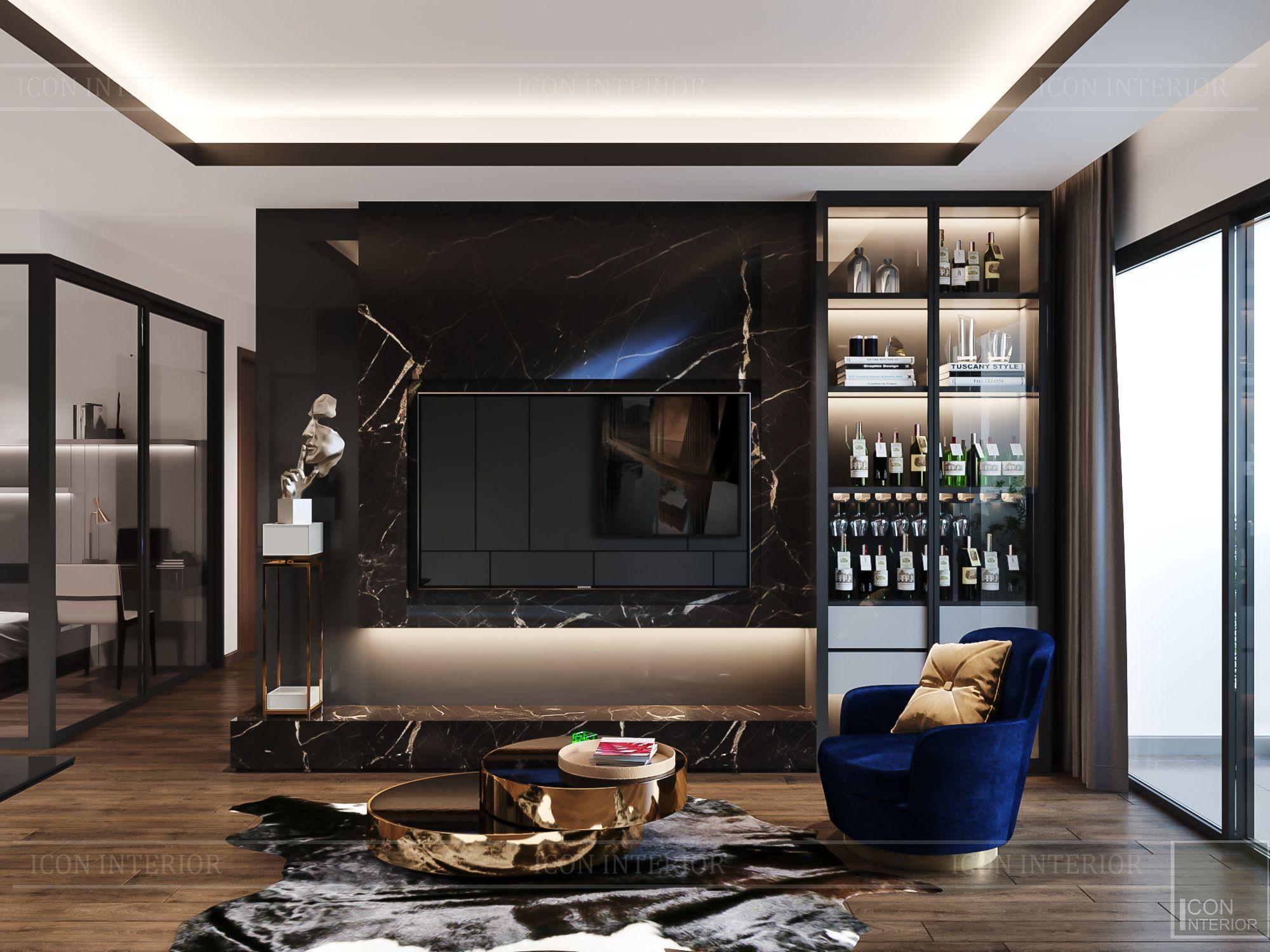 thiết kế nội thất chung cư hado centrosa - phòng khách 1