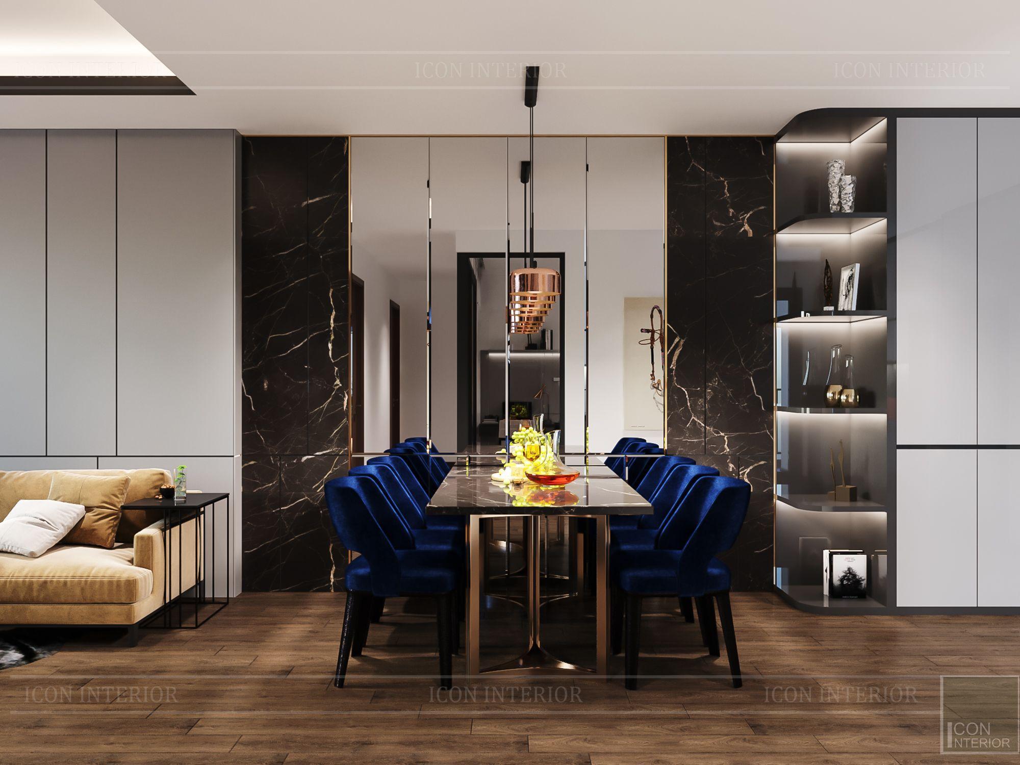 thiết kế nội thất chung cư hado centrosa - phòng ăn