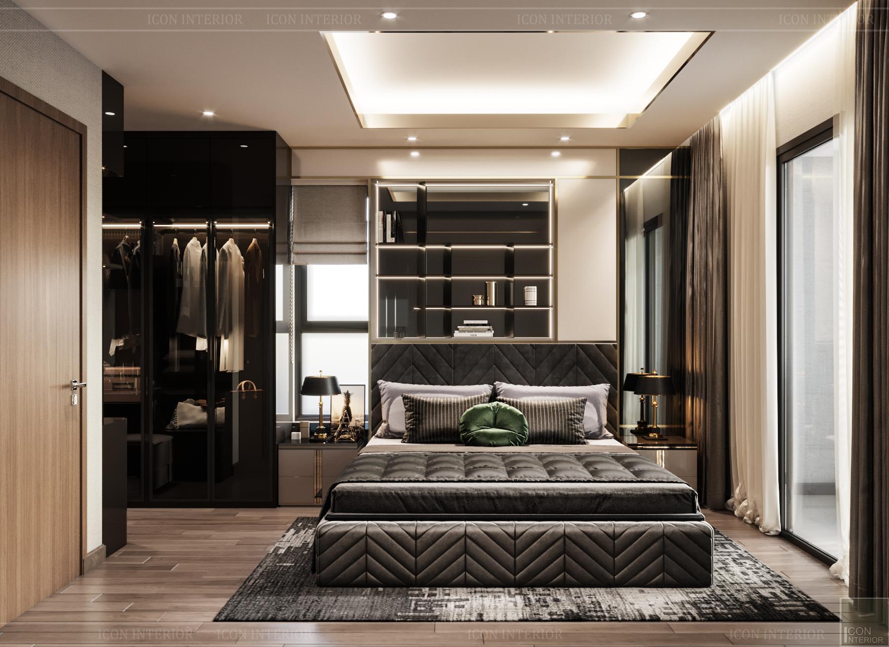 thiết kế nội thất chung cư hado centrosa - phòng master 2