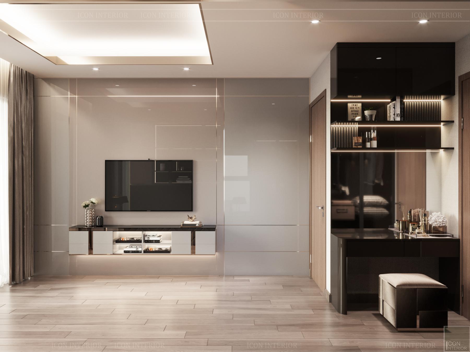 thiết kế nội thất chung cư hado centrosa - phòng master 1