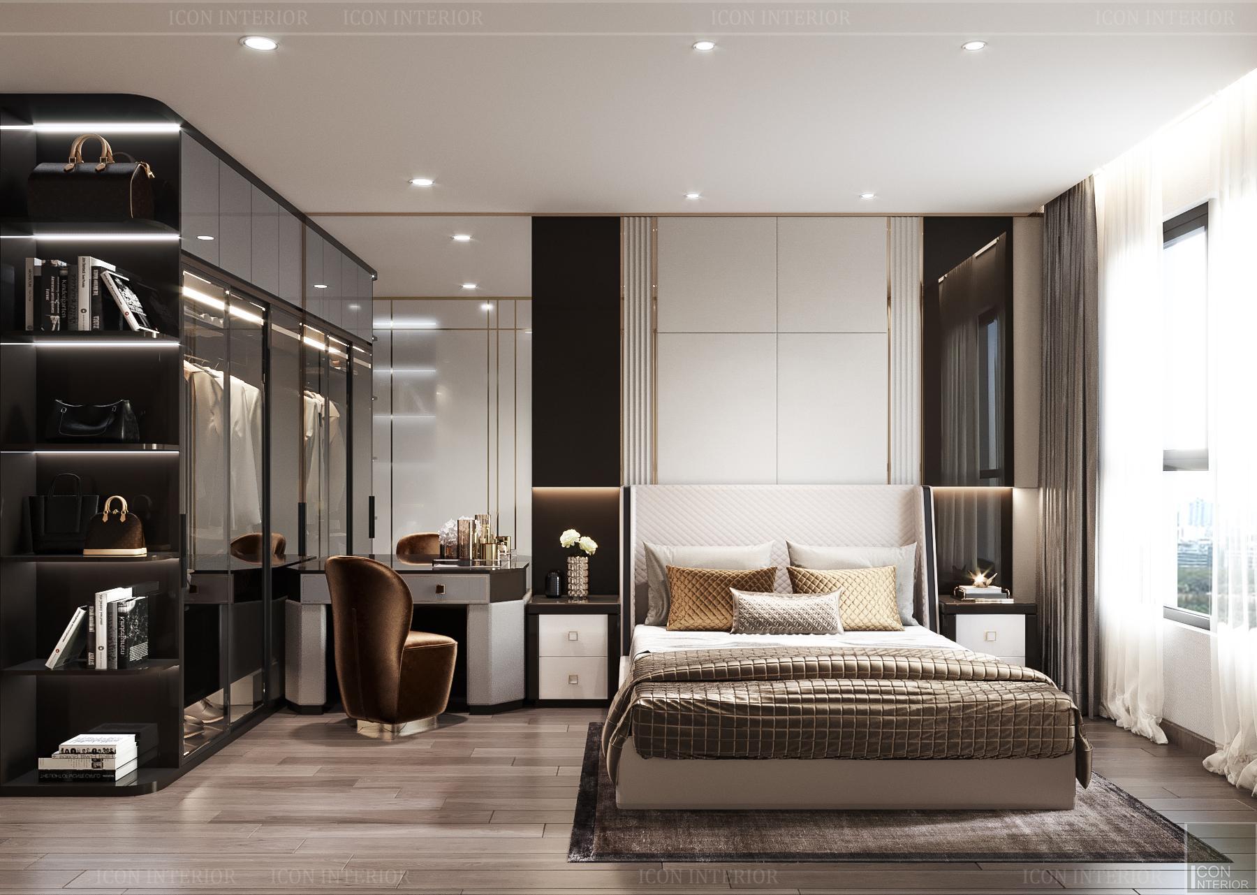 thiết kế nội thất chung cư hado centrosa - phòng ngủ 2