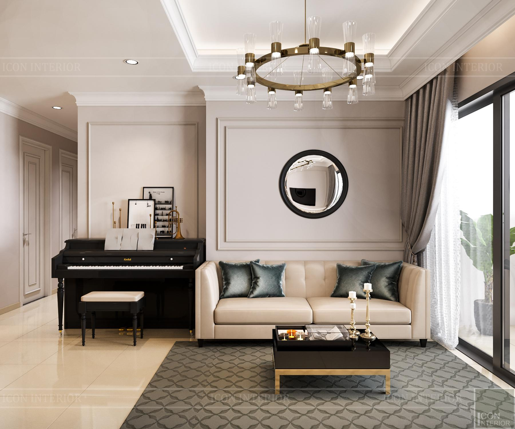 thiết kế nội thất căn hộ golden mansion - phòng khách 3