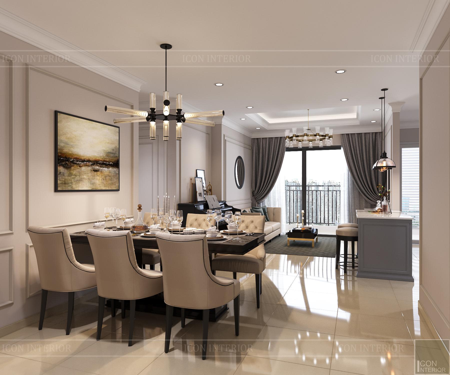 thiết kế nội thất căn hộ golden mansion - phòng khách bếp