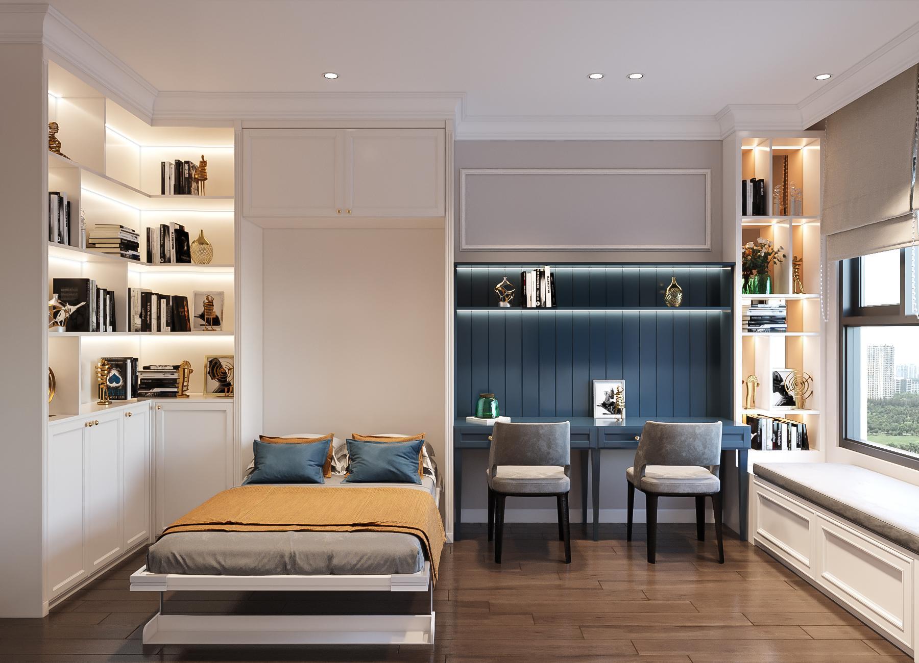 thiết kế nội thất căn hộ golden mansion - giường thông minh
