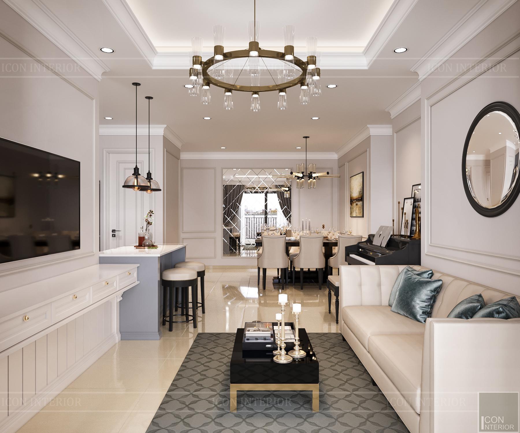thiết kế nội thất căn hộ golden mansion - phòng khách 1