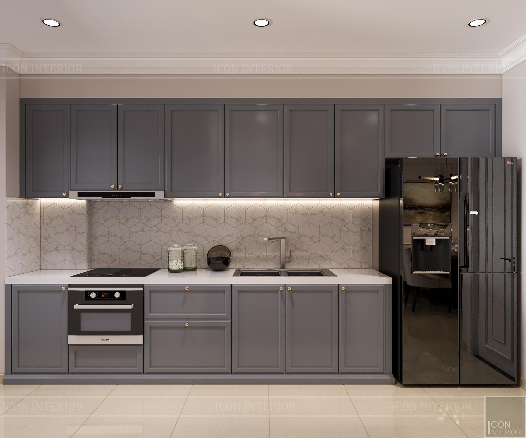 thiết kế nội thất căn hộ golden mansion - nhà bếp
