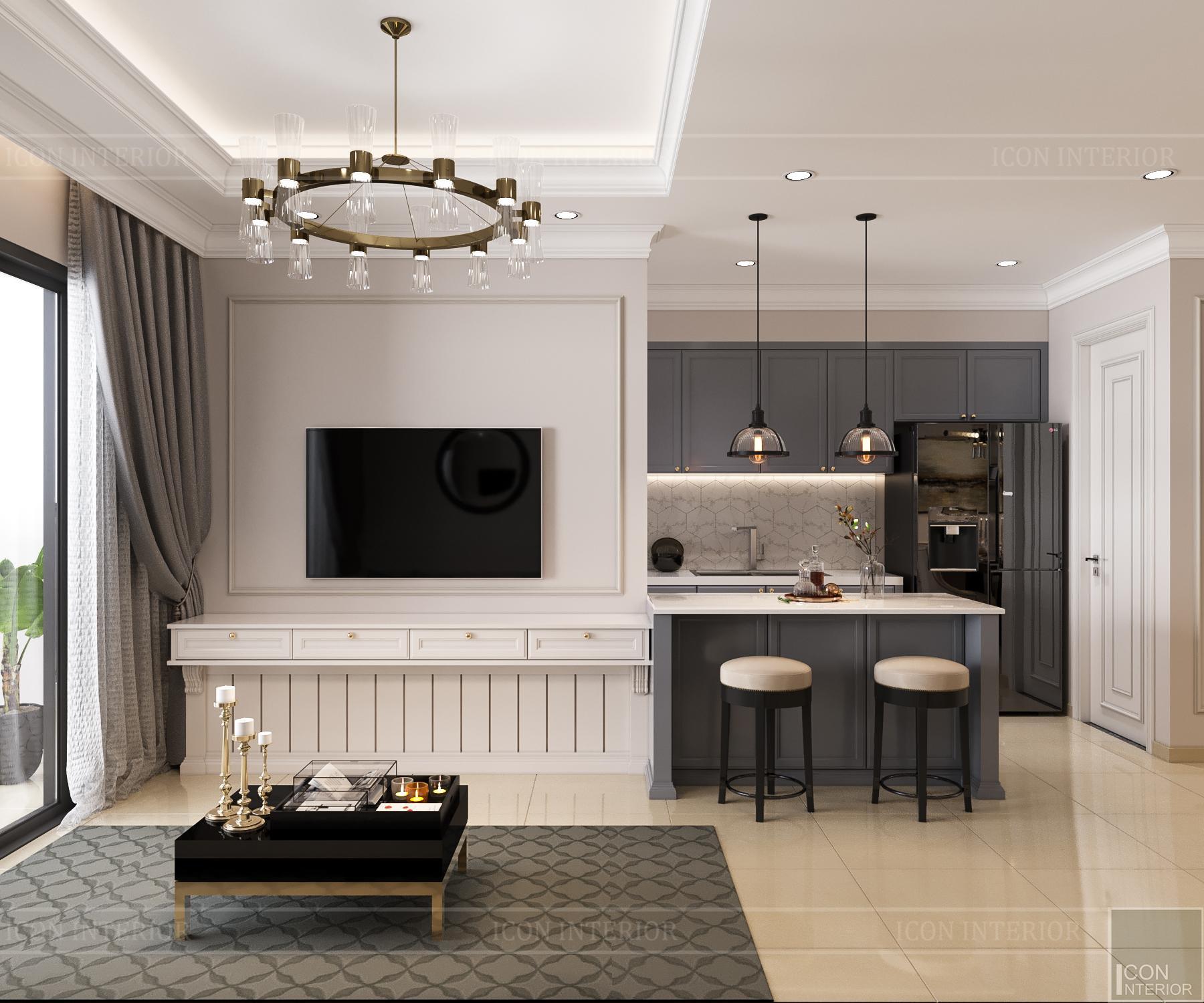 thiết kế nội thất căn hộ golden mansion - phòng khách 2