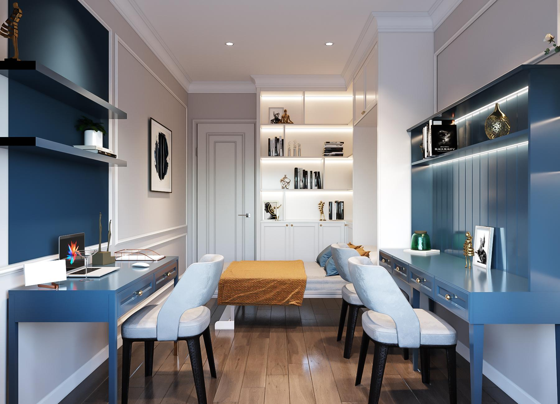 thiết kế nội thất căn hộ golden mansion - phòng ngủ nhỏ
