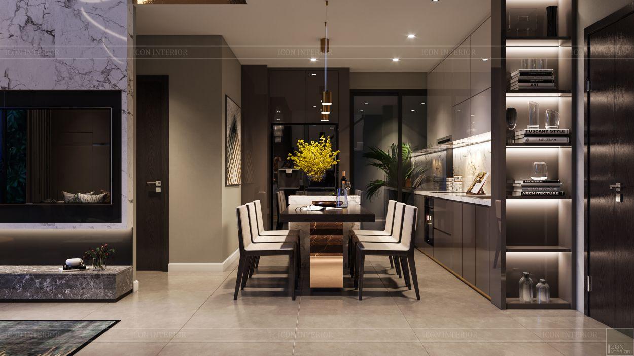 thiết kế nội thất căn hộ penthouse - phòng ăn 2